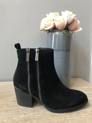 Black Suede Double Zip Ankle Boot