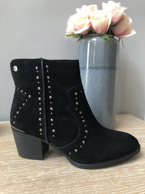 Black Suede Ankle Boot with Stud Detail