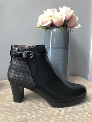 Bolsena Black Buckle Detail Ankle Boot