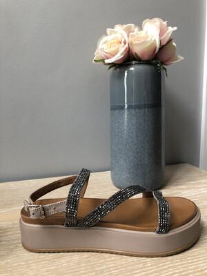 Grey Sparkle Platform Sandal