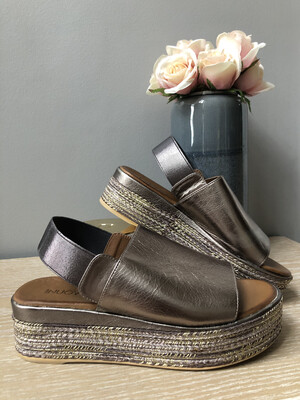 Pewter Leather Metallic Strap Wedge