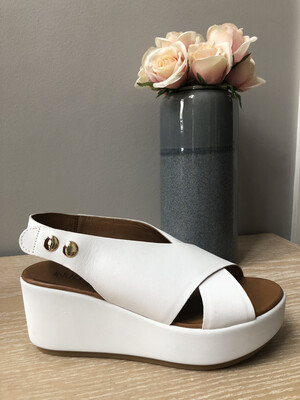White Leather Criss Cross Wedge