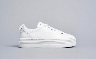 White Leather Trainer With Bow Detail