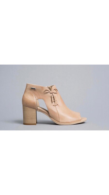 Champagne Leather Shoe Boot With Bow Detail