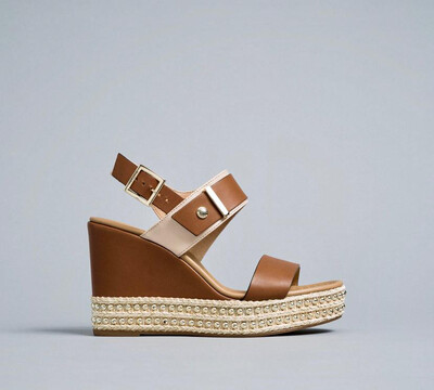 Tan Wedge With Gold Stud Detail