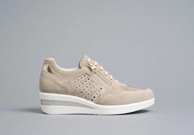 Beige Suede Wedge Trainer