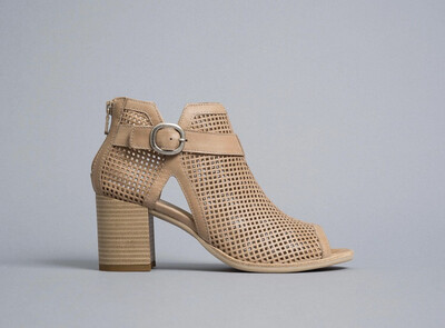 Champagne Shoe Boot With Buckle Detail