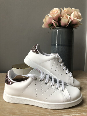White Leather Trainer With Pink Sparkle