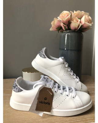 White Leather Trainer With Grey Sparkle
