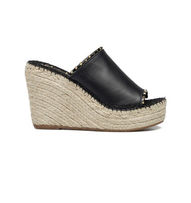 Black Leather Wedge Espadrille With Gold Stud Detail