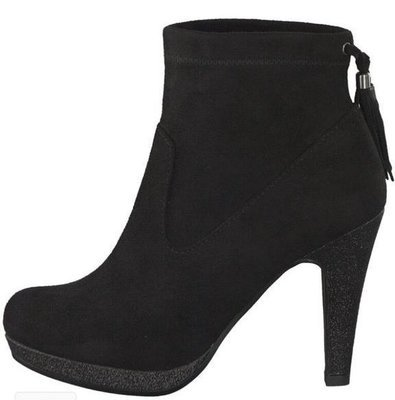 Black Suede Ankle Boot Heel Tassel Detail