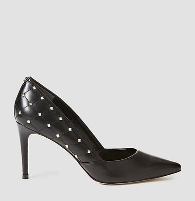 Brinn Black Leather Court Shoe Studs
