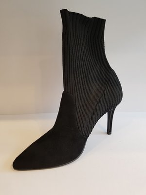 Marian - 13721 - Black Suede Knitted Heel Sock Boot