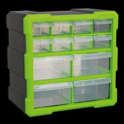 SEALEY CABINET BOX 12 DRAWER HI-VIS GREEN
