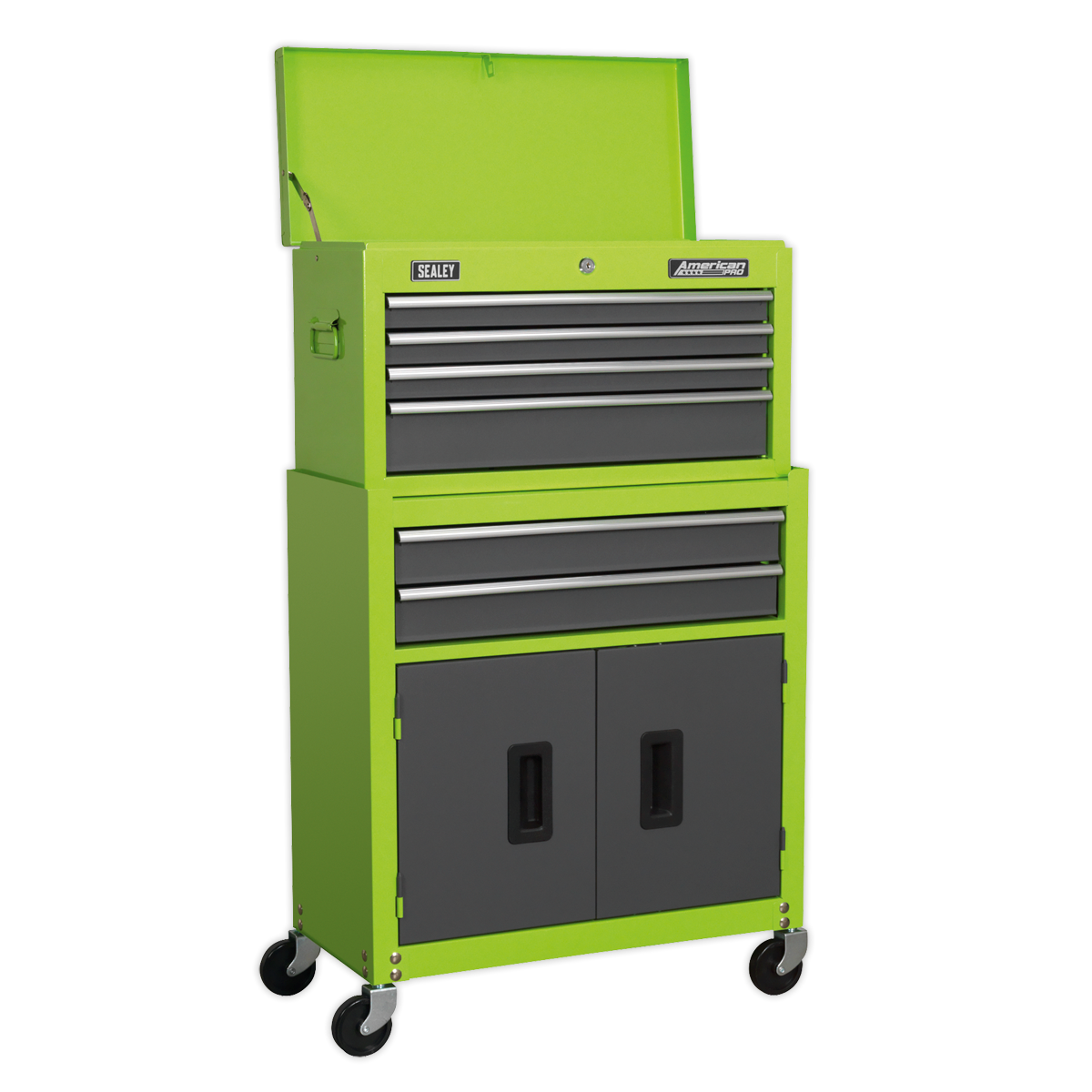 SEALEY TOPCHEST/ROLLCAB 6 DRAWER WITH BALL BEARING SLIDES HI-VIS GREEN