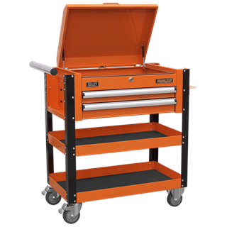 SEALEY 2 DRAWER HEAVY DUTY MOBILE TROLLEY WITH LOCKABLE TOP ORANGE