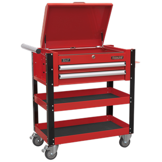 SEALEY 2 DRAWER HEAVY DUTY MOBILE TROLLEY WITH LOCKABLE TOP RED