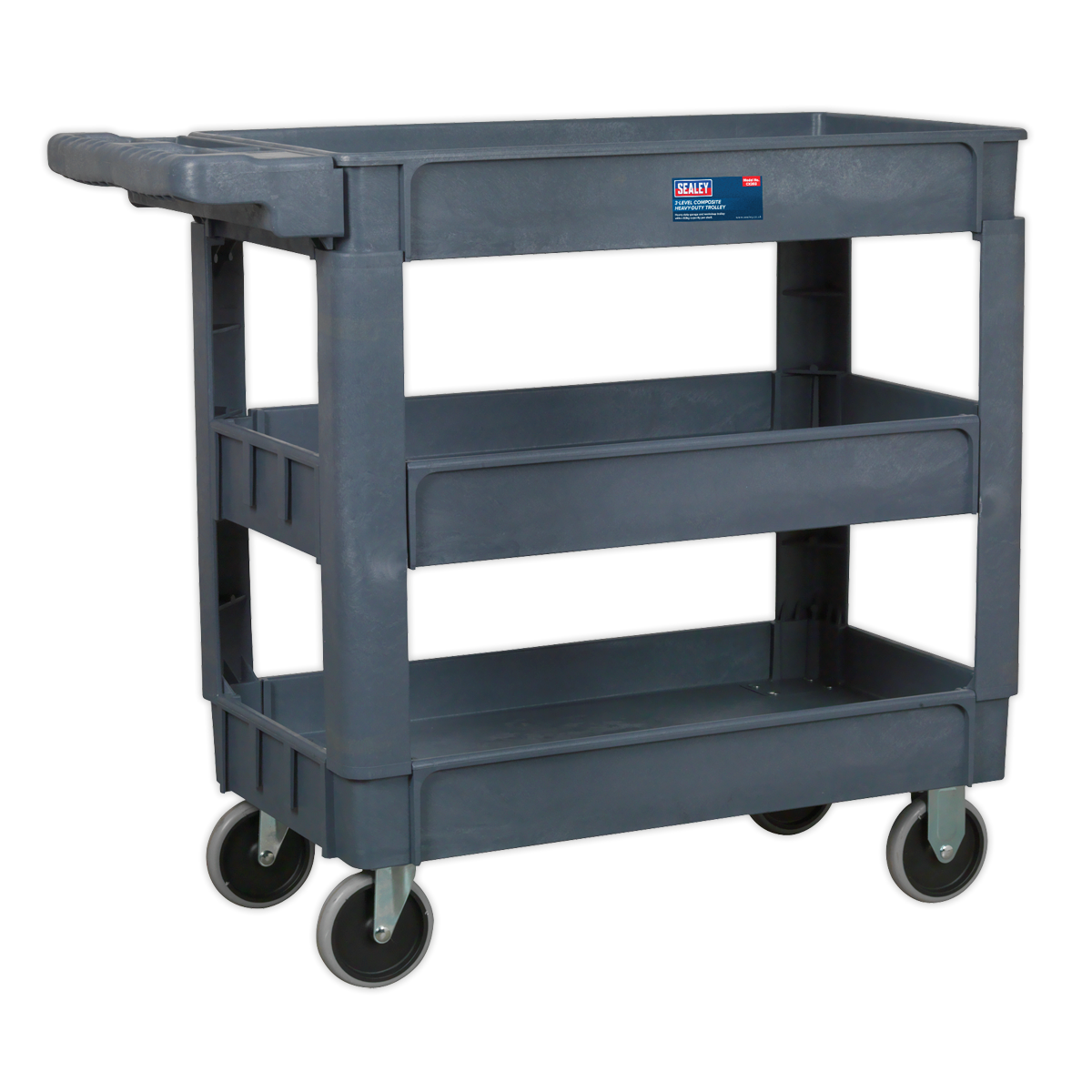 SEALEY TROLLEY WITH HANDLE 3-LEVEL COMPOSITE HEAVY DUTY