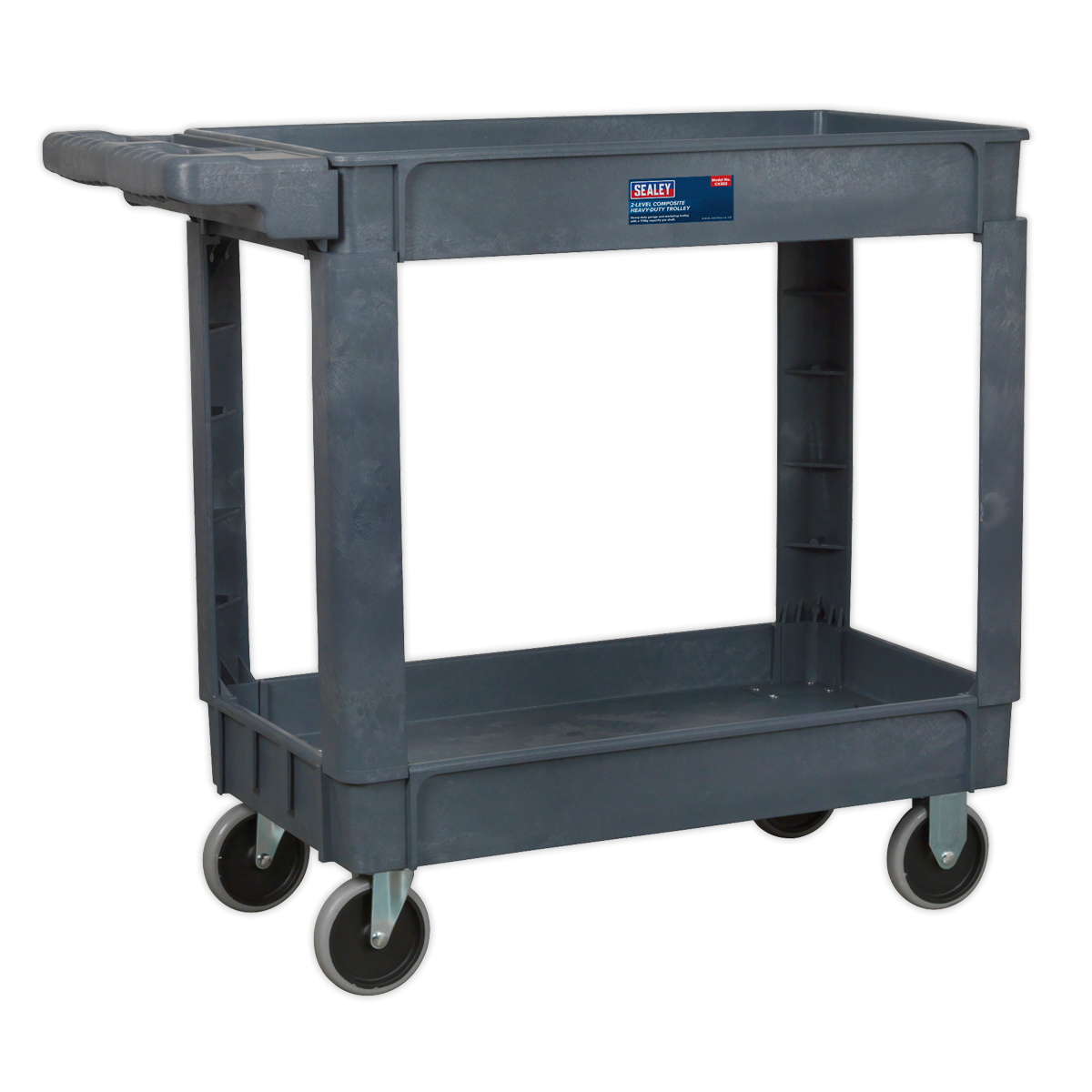 SEALEY TROLLEY WITH HANDLE 2-LEVEL COMPOSITE HEAVY DUTY