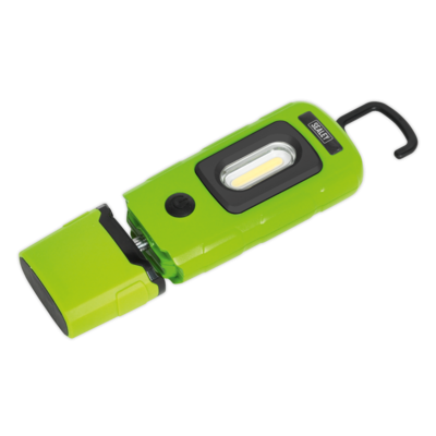 SEALEY RECHARGEABLE 360° INSPECTION LAMP3W COB + 1W LED GREEN Lithium-Polymer