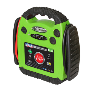 SEALEY RoadStart®EMERGENCY JUMP STARTER12V 900 Peak Amps Hi-Vis Green