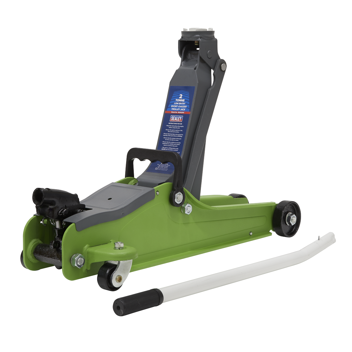 SEALEY TROLLEY JACK 2tonne LOW ENTRY SHORT CHASSIS - Hi-Vis Green