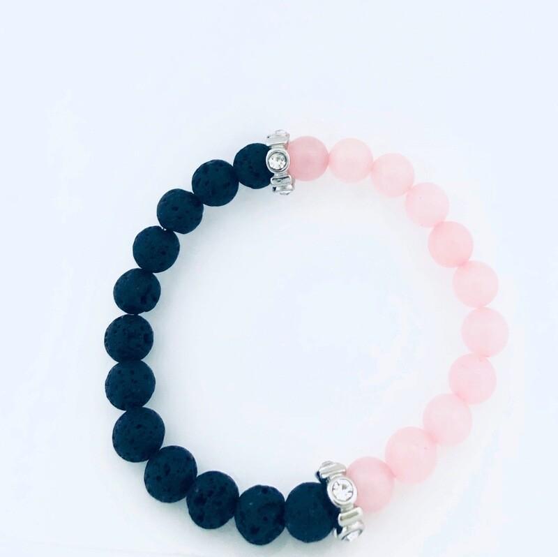D' Colores Collection All Natural Rose Quartz & Lava rock Bracelet