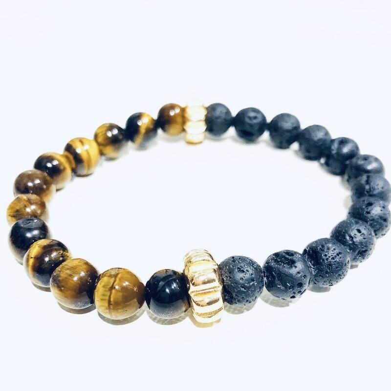 D' Colores Collection All Natural Tiger Eye & Lava rock Bracelet