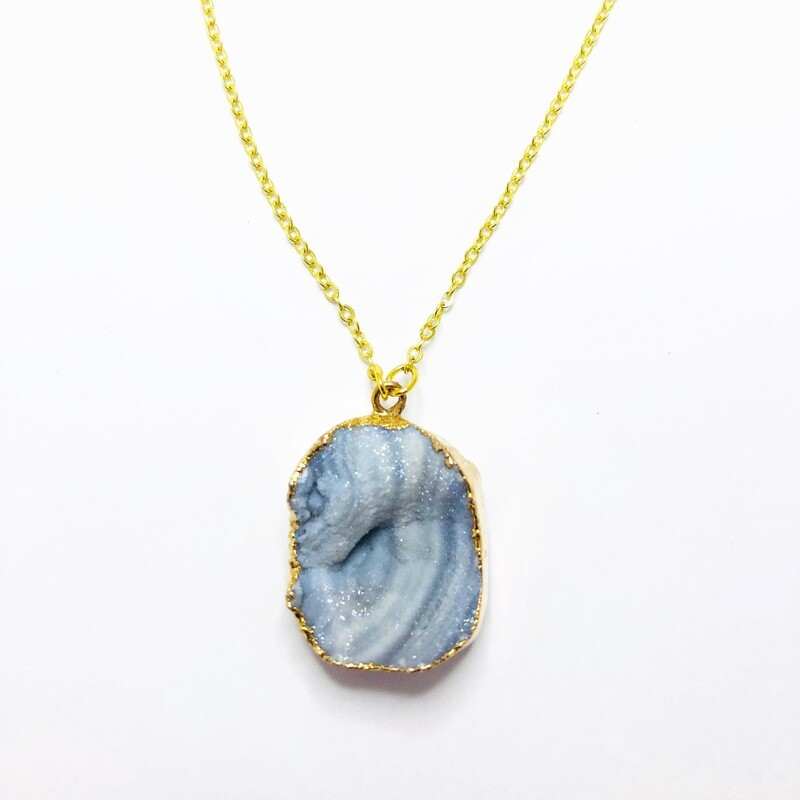Rock Your World ' Collection  Blue Druzy Stone Necklace