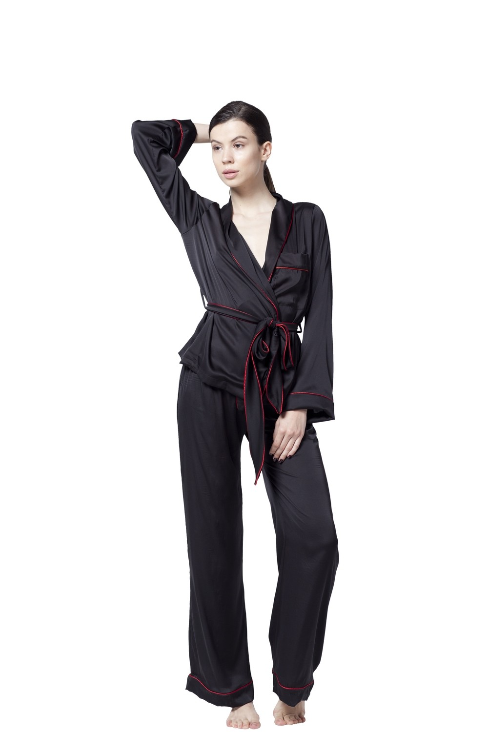 PETRONAS BLACK SILK PAJAMA SUIT