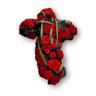 Kreuzgesteck rot