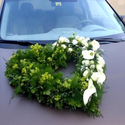 Autoschmuck Herz grün mit Calla