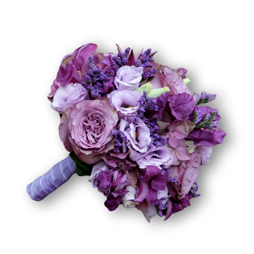 Brautstrauss Modern rund - purpur