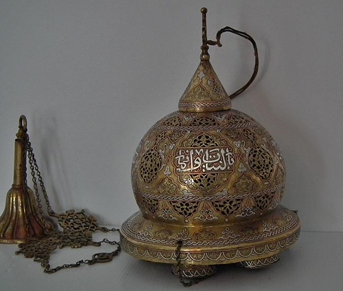 Antique Islamic Mosque Lamp Cairoware Mamluk Revival
