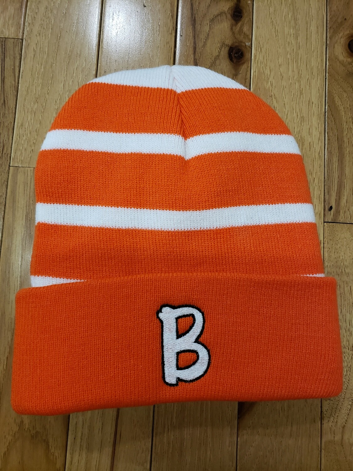 """Sport-Tek® Striped Beanie with Solid Band w/ """"B"""" Embroidery"""