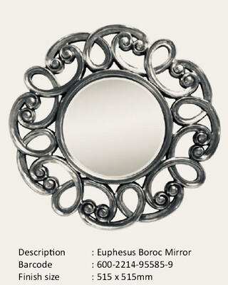 NWM95585-9 Euphesus Baroque Silver Round Mirror