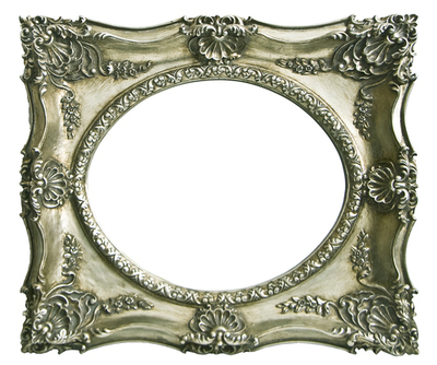 AF001 Silver ornate frame with oval mirror