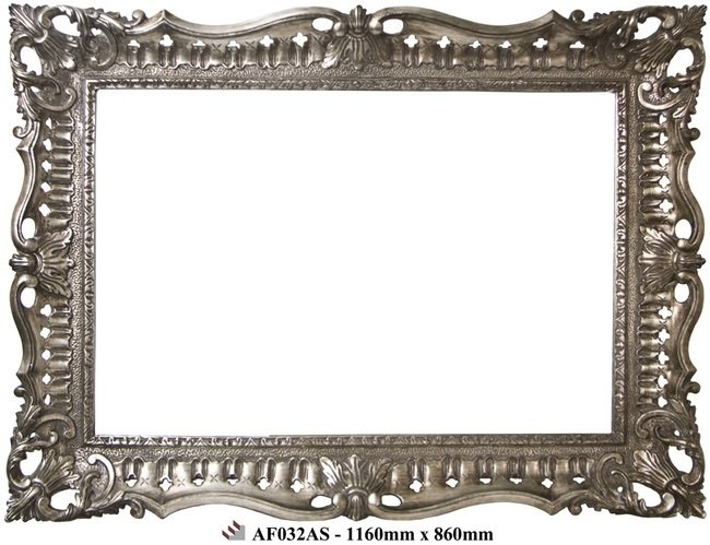AF032AS Ornate antique silver framed mirror.