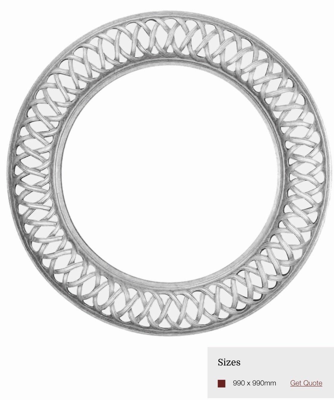 AF037 Round silver detailed framed mirror