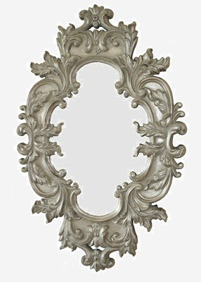CFO83GS Oval ornate German Silver mirror