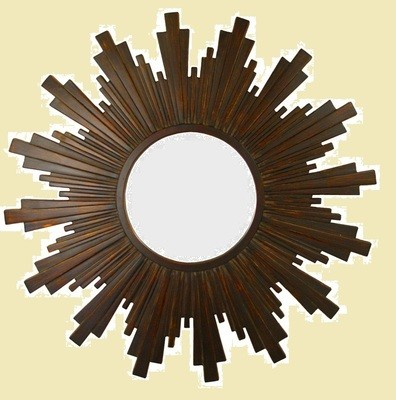 CFO91 Brown/burnt gold sunburst round mirror