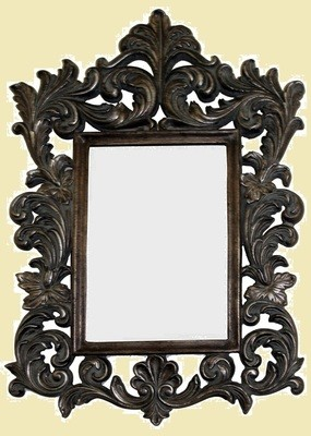CFO87 Ornate brown framed mirror