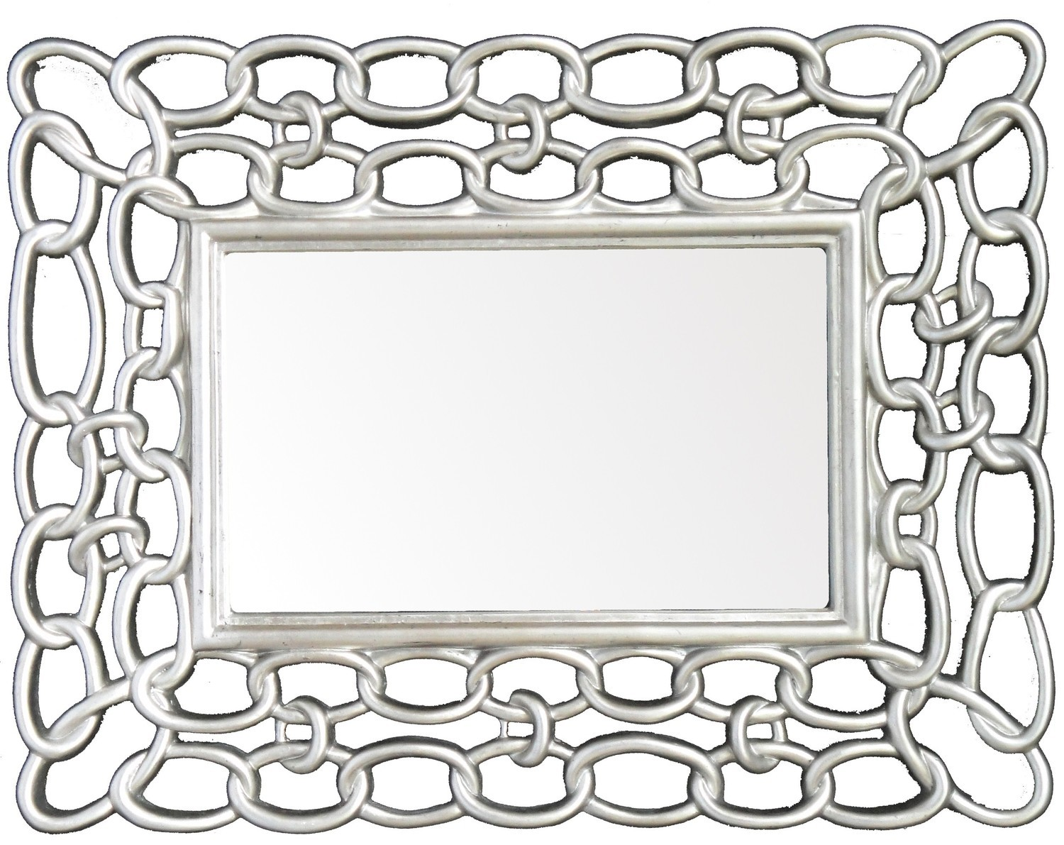 CFO66 Silver chain framed contemporary mirror