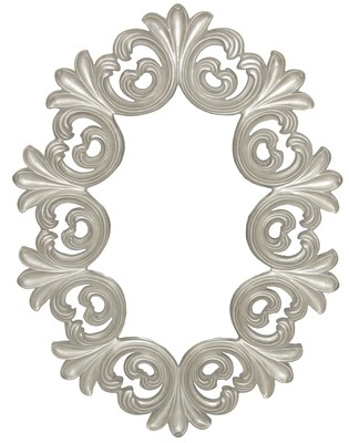 CFO82 Silver ornate round mirror