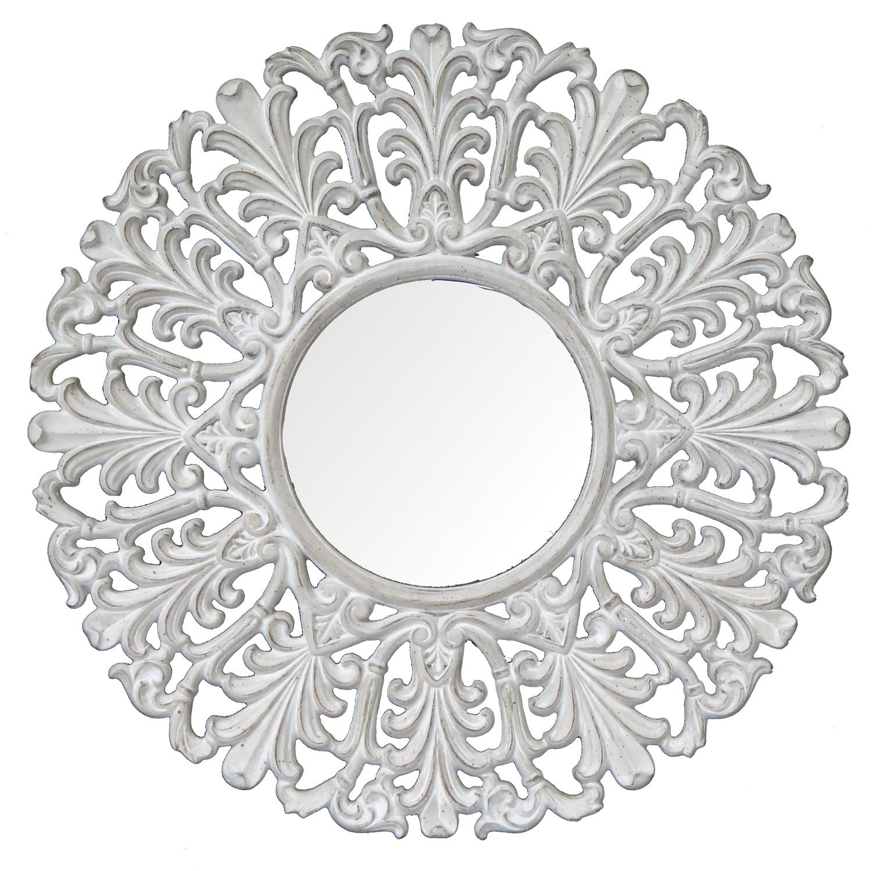 CFO68 Whitewashed round ornate mirror