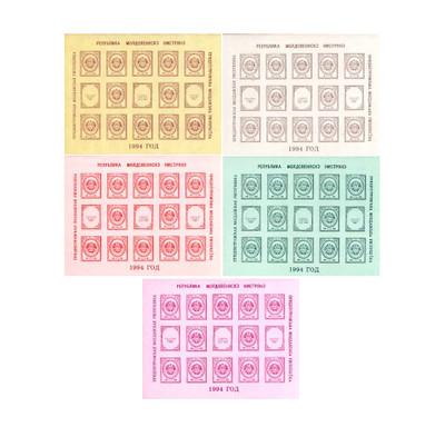 ПМР. Стандартный выпуск. Государственный герб ПМР. Серия из 5 листов по 12 марок и 3 купона