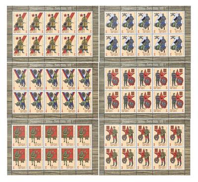 ПМР. Гражданская война. Тирасполь 1919 г. Серия из 6 листов по 10 марок