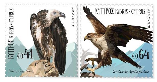 Кипр. EUROPA. Национальные птицы: Белоголовый сип и Ястребиный орёл. Серия из 2 марок