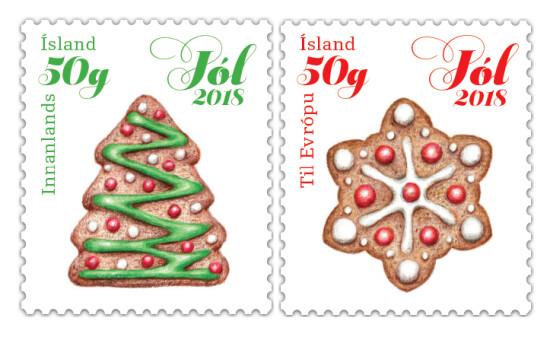 Исландия. Рождество. Имбирные пряники. Серия из 2 самоклеящихся марок