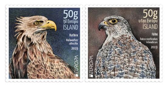 Исландия. EUROPA. Национальные птицы: Орлан-белохвост и Кречет. Серия из 2 самоклеящихся марок
